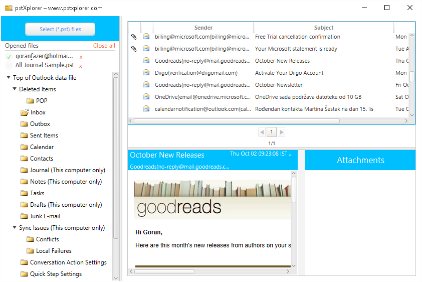 FREE Portable PST File Viewer with Emails, Attachments View from